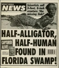 Alligator boy hoax specimen in Weekly World News