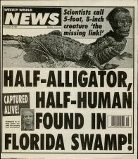 Alligator boy hoax specimen in Weekly World News